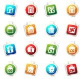 Sistema del icono de la caja de regalo Fotografía de archivo