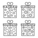 Sistema del icono de la caja de regalo Foto de archivo