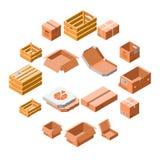 Sistema del icono de la caja de embalaje, estilo isométrico 3d ilustración del vector