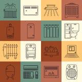 Sistema del icono de la calefacción de la casa Imagen de archivo libre de regalías