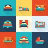 Sistema del icono de la cama del vector Fotos de archivo