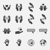 Sistema del icono de la caridad Vector Imágenes de archivo libres de regalías
