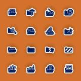 Sistema del icono de la carpeta aislado en rojo Imágenes de archivo libres de regalías