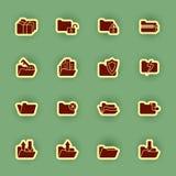 Sistema del icono de la carpeta aislado en verde Fotografía de archivo libre de regalías