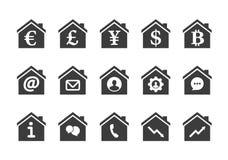 Sistema del icono de la casa Foto de archivo libre de regalías