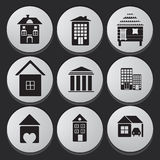 Sistema del icono de la casa y del edificio Imagen de archivo libre de regalías