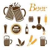 Sistema del icono de la cerveza Imagenes de archivo