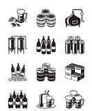 Sistema del icono de la cerveza y de la cervecería Foto de archivo libre de regalías