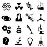 Sistema del icono de la ciencia, de la biología, de la física y de la química Imagen de archivo