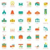 Sistema del icono de la ciudad de los edificios Fotos de archivo