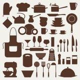 Sistema del icono de la cocina y del restaurante de utensilios Imagenes de archivo