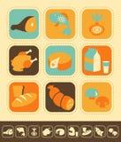 Sistema del icono de la comida Imagen de archivo