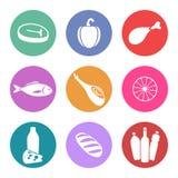 Sistema del icono de la comida Fotografía de archivo