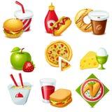 Sistema del icono de la comida Fotos de archivo libres de regalías
