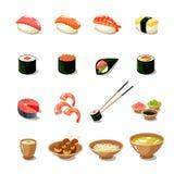 Sistema del icono de la comida de Asia Fotos de archivo