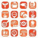 Sistema del icono de la comida del color Foto de archivo libre de regalías