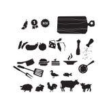Sistema del icono de la comida del restaurante de la carne Ilustración del vector Imagen de archivo libre de regalías