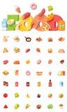 Sistema del icono de la comida del vector stock de ilustración