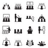 Sistema del icono de la conferencia Imágenes de archivo libres de regalías