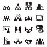 Sistema del icono de la conferencia Foto de archivo libre de regalías