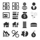 Sistema del icono de la crisis financiera Fotos de archivo libres de regalías