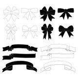 Sistema del icono de la decoración de la cinta del arco del regalo Fotos de archivo