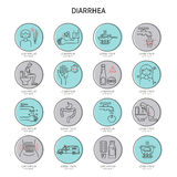 Sistema del icono de la diarrea libre illustration