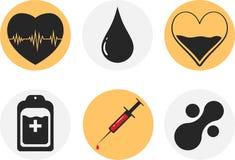 Sistema del icono de la donación de sangre Corazón, sangre, descenso, contador, jeringuilla y molécula del mataball Ilustración E Foto de archivo