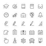 Sistema del icono de la educación del movimiento del esquema Fotos de archivo libres de regalías