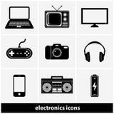 Sistema del icono de la electrónica Imágenes de archivo libres de regalías