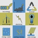 Sistema del icono de la energía de Eco Foto de archivo libre de regalías
