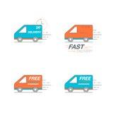 Sistema del icono de la entrega Van service, orden, 24 wo de la hora, rápidos y libres Imagen de archivo libre de regalías