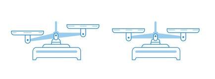 Sistema del icono de la escala de la balanza Cuencos de escalas en equilibrio, un desequilibrio de escalas Ejemplo del símbolo de ilustración del vector