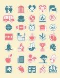 Sistema del icono de la escuela. Imagenes de archivo