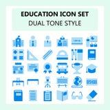 Sistema del icono de la escuela y de la educación, color azul del tono dual en diseño plano ilustración del vector