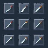 Sistema del icono de la espada Imagenes de archivo