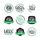 Sistema 2018 del icono de la etiqueta engomada del Año Nuevo Fotos de archivo libres de regalías