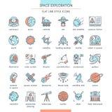 Sistema del icono de la exploración espacial ilustración del vector
