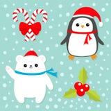 Sistema del icono de la Feliz Navidad Palillo del bastón de caramelo con el arco rojo Pájaro del pingüino, cachorro blanco del os Fotografía de archivo