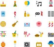 Sistema del icono de la fiesta de cumpleaños stock de ilustración