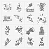 Sistema del icono de la fiesta de cumpleaños del garabato Imagen de archivo libre de regalías