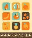 Sistema del icono de la fruta Foto de archivo libre de regalías