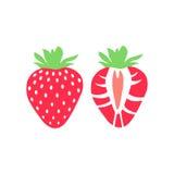 Sistema del icono de la fruta de la fresa del vector Aislado en blanco Foto de archivo libre de regalías