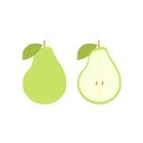 Sistema del icono de la fruta de la pera del vector Aislado en blanco Imagen de archivo
