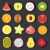 Sistema del icono de la fruta del vector Fotografía de archivo libre de regalías