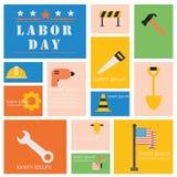 Sistema del icono de la herramienta internacional del Día del Trabajo y de la industria stock de ilustración