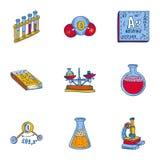 Sistema del icono de la herramienta de la química, estilo exhausto de la mano libre illustration