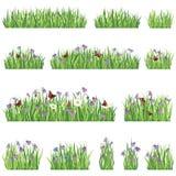Sistema del icono de la hierba y de la flor