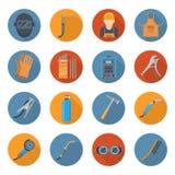 Sistema del icono de la historieta de la industria de soldadura stock de ilustración