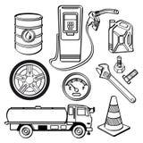 Sistema del icono de la industria de petróleo Imagen de archivo libre de regalías